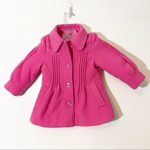 London Fog Pea Coat & Hat Pink Size 18 months